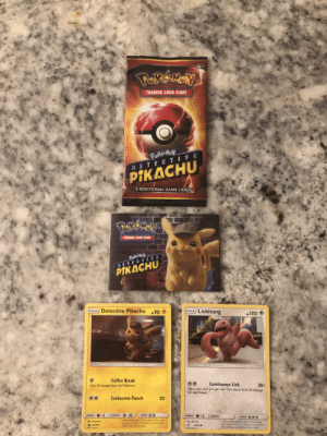 Head, Pikachu, and Pokemon: TRADING CARD GAME  DETEC T  PIKACHU  2 ADDITIONAL GAME CARD  TRADING CARD GAME  PIKACHU  Detective Pikachu  BASIC Lickitung  -90  100  Coffee Break  Heal 30 damage from this Pokémon.  Continuous Lick  20  Is. This attack does 20 damage  a coin until you  for each head  @@  Corkscrew Punch  20  s father, Harry, who  has gone missing. This Pikachu loves the dark  was the partner of  It checks but whutever's around it by licking  everything If you don' clean off a spot where  s licked you, you'll break out in a rash  Fromestore  SM190  coftee at the Hi-Hat Cafe  2019 Pokm Detective Pikachu Booster Pack from the Premiere Tonight