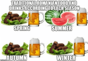 Winter, Summer, and Spring: TRADITIONAL ROMANIAN FOODAND  DRINKSACCORDINGTOEACH SEA  SPRING  SUMMER  AUTUMN  WINTER Welcome to Romania