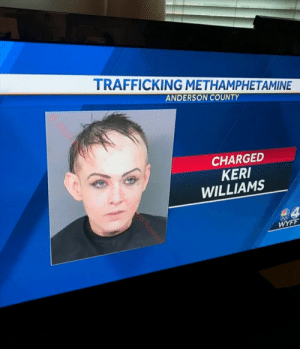 Reminds me of certain character from part 8.: TRAFFICKING METHAMPHETAMINE  ANDERSON COUNTY  CHARGED  KERI  WILLIAMS  WYFF  20200  son  ty SOA| RS Reserver Reminds me of certain character from part 8.