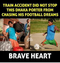 brave heart: TRAIN ACCIDENT DID NOT STOP  THIS DHAKA PORTER FROM  CHASING HIS FOOTBALL DREAMS  BRAVE HEART