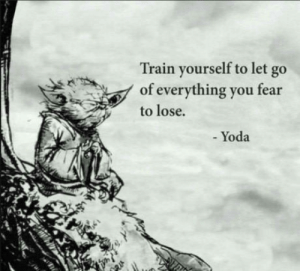Yoda, Train, and Fear: Train yourself to let go  of everything you fear  to lose.  - Yoda I like that
