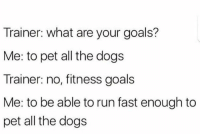 <p>Found this in r/memes</p>: Trainer: what are your goals?  Me: to pet all the dogs  Trainer: no, fitness goals  Me: to be able to run fast enough to  pet all the dogs <p>Found this in r/memes</p>