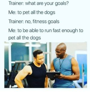 Dogs, Goals, and Memes: Trainer: what are your goals?  Me: to pet all the dogs  Trainer: no, fitness goals  Me: to be able to run fast enough to  pet all the dogs 😂😂😂