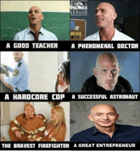 Doctor, Premier League, and Teacher: TRALL  PREMIER  LEAGUE  A GooD TEACHER  A PHENDMENAL DOCTOR  A HARDCORE COP A SUCCESSFUL ASTRONAUT  THE BRAVEST FIREFIGHTER A GREAT ENTREPRENEUR