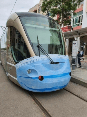 Trams are wearing face masks in Rabat ,Capital of MOROCCO: Trams are wearing face masks in Rabat ,Capital of MOROCCO