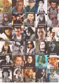 HERE'S TO JOHNNY DEEP: TRANNY ASTRONAUT  NOIR PIRATE  TEA  CHOCOLATE  CHOCOLATE  MAKER  DRINKER  EATER  BOOKWORM  GREASER  BROTHER  SEA GANGSTER  LOVER  ROGUE AGENT  PSYCHOTIC PSYCHIC  DIRECTOR  DETECTIVE  DETECTIVE  PSYCHOTIC  PSYCHOTIC  PSYCHOTIC  WRITER H3  WRITER H1  WRITER H2  GROOM  AMERICAN  INDIAN  FATHER  BARBER  POT  DEALER 072  PSYCHOTIC  WRITER #4  EMO  WOLVERINE  FAKE  MOBSTER  JOKER  VAMPIRE  POT  SMOKER  PSYCHOTIC  SCRIBBLER HERE'S TO JOHNNY DEEP
