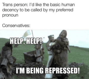 freeze peach: Trans person: l'd like the basic human  decency to be called by my preferred  pronoun  Conservatives:  HELP, HELP!  I'M BEING REPRESSED! freeze peach