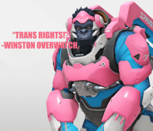 Overwatch,  Trans, and Winston: TRANS RIGHTS!  WINSTON OVERWATCH,