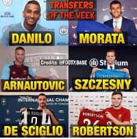 This week's transfers 😈 Your favourite? 👇 Double Tap & Follow me @footy.base for more! ❤️: TRANSFERS  OF THE WEEK  NEXEN TIRE  AD  DANILOMORATA  WES  Credits: @FOOTY BASE I) Stium  ARNAUTOVIC SZCZESNY  INTERIAL CHA  ENTED BY HEINEKE  DE SCIGLIO  ROBERTSON  冂  Olondo  .  DE SCIGLIO ROBERTSON This week's transfers 😈 Your favourite? 👇 Double Tap & Follow me @footy.base for more! ❤️