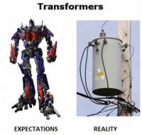 "Transformers  EXPECTATIONS  REALITY <p>Transformers. <a href=""http://bit.ly/JKskwb"">http://bit.ly/JKskwb</a></p>"