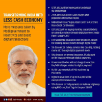Memes, Taken, and Transformers: TRANSFORMING INDIA INTO  LESS CASH ECONOMY  More measures taken by  Modi government to  incentivize and boost  digital transactions  Of IBJP4 India G I+BJP www.bjp.org  0.75% discount for buying petrol and diesel  via digital mode  2 POS devices each in 1 Lakhvillages with  population of less than 10,000  NABARD will issue Rupay Kisan Cards to 4.32 crore  Kisan Credit Cardholders  0.5% discount for buying monthly seasonal tickets  on Sub urban railway through digital payment mode  from January, 2017  Free accidental insurance Cover of upto RS. 10 lakh  for booking Railway tickets through digital mode  5% discount on railway services like catering, retiring  rooms etC through digital payment mode  10% discount on general insurance, 8% discount  on life insurance through digital payments  Government bodies will not charge transaction  fee/MDR charges related to digital payment  Rs 100 cap on rentals of POS machines by  PSU banks  Digital transactions of up to RS 2,000 will be  exempted from service tax  10% discount on Toll payments on National Highways  using RFID card/FastTags in the year 2016-17  Read full: bit.ly/MOFRelease08122016 Transforming India Into Cashless Economy !