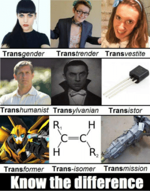 Transgender, Transistor, and Transformer: Transgender Transtrender Transvestite  Transhumanist Transylvanian Transistor  Transformer Trans-isomer Transmission  Know the difference Be more specific