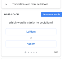 """Autism, Socialism, and Word: Translations and more definitions  WORD COACH  Learn new words  Which word is similar to socialism?  Leftism  or  Autism  SKIP <p>I found this format, buy or sell? via /r/MemeEconomy <a href=""""https://ift.tt/2Gn9xPL"""">https://ift.tt/2Gn9xPL</a></p>"""