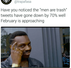 """Trash, Gone, and Down: @trapafasa  Have you noticed the """"men are trash""""  tweets have gone down by 70% well  February is approaching  Pent  Mon  Tut-Thu  Fri-Sa  Sundag feed looks kind of tame these days"""