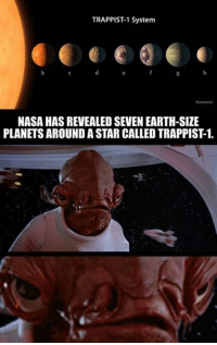 Nasa, Star Wars, and Earth: TRAPPIST1 System  NASA HAS REVEALED SEVEN EARTH-SIZE  PLANETS AROUND ASTAR CALLED TRAPPIST1. Via - The Star Wars Underworld