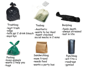 Always Stressed: Trashbag  Bodybag  -feels death  -lost in life  Teabag  -legit trash  Aesthetic  tells ppl 2 drink bleach -wants to be liked -always stressed  -says Kys  -hasnt checked  social media in 2 mins  Poobag  -loves animals  wants 2 help you  -hugs  Sandwichbag  mom friend  -needs food  -wants a party bus  Punchbag  -will fite u  roadrage  gymlad