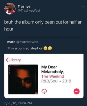 Bruh, The Weeknd, and Library: Trashye  @TrashyeWest  bruh the album only been out for half an  hour  marc @marcxotwod  This album so slept on  Library  My Dear  Melancholy,  The Weeknd  R&B/Soul 2018  3/29/18, 11:24 PM Well more like a day…