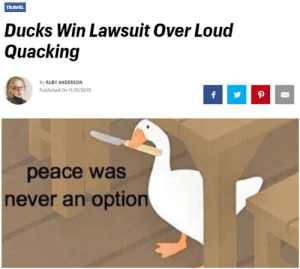 Quack quack: TRAVEL  Ducks Win Lawsuit Over Loud  Quacking  By RUBY ANDERSON  Published On 11/21/2019  peace was  never an option  4 Quack quack