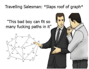 "Anaconda, Bad, and Fucking: Travelling Salesman: *Slaps roof of graph*  ""This bad boy can fit so  many fucking paths in it""  H3  H4  45  H1  30  75  75  H5  H2  45  30 100  0 45  H7  H10  50  15  H8 TSP"