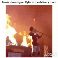 Funny, Lmao, and Mad: Travis cheering on Kylie in the delivery room  Mad  VivaVi Lmao