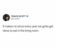 Thanksgiving, Travis Scott, and Dress: TRAVIS SCOTT  @trvisXX  It makes no since every year we gotta get  dress to eat in the living room Y'all agree? 😳🤷♂️ #Thanksgiving @trvisXX https://t.co/yVgjShMQfj