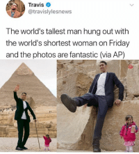 Friday, Tumblr, and Photos: Travis  @travislylesnews  The world's tallest man hung out with  the world's shortest woman on Friday  and the photos are fantastic (via AP) bro ahs tho