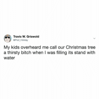 Bitch, Christmas, and Fake: Travis W. Griswold  @Prof_Hinkley  My kids overheard me call our Christmas tree  a thirsty bitch when I was filling its stand with  water so it's either you have a thirsty one or a fake one. there is no inbetween