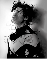 """travisgmoore:Technically, the list I used for Inktober today by sparrouu-bird is supposed to be  for OCs, but I just felt like sketching Dick (with full hair). The  prompt was """"bruised,"""" so this is Dick moments after a hard-fought  battle.: travisgmoore:Technically, the list I used for Inktober today by sparrouu-bird is supposed to be  for OCs, but I just felt like sketching Dick (with full hair). The  prompt was """"bruised,"""" so this is Dick moments after a hard-fought  battle."""
