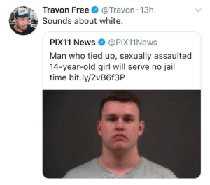 Dank, Future, and Jail: Travon Free @Travon 13h  Sounds about white  PIX11 News@PIX11News  Man who tied up, sexually assaulted  14-year-old girl will serve no jail  time bit.ly/2vB6f3P Your future congressman by schatz_rashad MORE MEMES