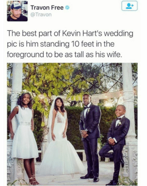 from twitter.com/travon: Travon Free  @Travon  The best part of Kevin Hart's wedding  pic is him standing 10 feet in the  foreground to be as tall as his wife. from twitter.com/travon