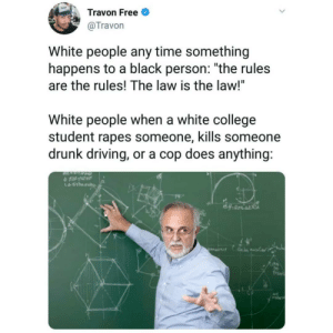 "College, Dank, and Driving: Travon Free  @Travon  White people any time something  happens to a black person: ""the rules  are the rules! The law is the law!""  White people when a white college  student rapes someone, kills someone  drunk driving, or a cop does anything:  수 tat10tr  久 Rules for thee, not for me by jaykilluminati MORE MEMES"