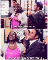 TREAT YO SELF 2017!  OTSTHE BEST DAY oF THE YEAR!A On this great day, January 27, 2017, Tom and Donna treat themselves for the last televised time. To honor this great day, go out and treat yo self to clothes (treat yo self), fragrances (treat yo self), massages (treat yo self), mimosas (treat yo self), and fine leather goods (treat yo self). It's the best day of the year! ✨ treatyoself2017 treatyoself tomhaverford donnameagle azizansari retta parksandrec parksandrecreation