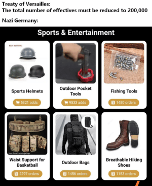 Basketball, Black Friday, and Friday: Treaty of Versailles:  The total number of effectives must be reduced to 200,000  Nazi Germany  Sports & Entertainment  RED-HUNTING  Outdoor Pocket  Fishing Tools  Sports Helmets  Tools  1450 orders  5321 adds  9533 adds  Note: Doesn't include package  Breathable Hiking  Waist Support for  Basketball  Outdoor Bags  Shoes  2297 orders  E 1456 orders  1153 orders There is something fishy about this Black Friday offer.