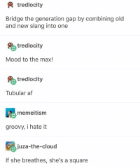 Af, Memes, and Mood: tredlocity  Bridge the generation gap by combining old  and new slang into one  tredlocity  Mood to the max!  tredlocity  Tubular af  memeitism  groovy, i hate it  juza-the-cloud  If she breathes, she's a square I dont even know what the last 2 are I'm out of touch with both generations