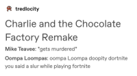 "Charlie, Tumblr, and Chocolate: tredlocity  Charlie and the Chocolate  Factory Remake  Mike Teavee: *gets murdered""  Oompa Loompas: oompa Loompa doopity dortnite  you said a slur while playing fortnite"