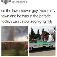 Funny, Soon..., and Home: @treesfjnale  so the lawnmower guy lives in my  town and he was in the parade  today i can't stop laughigngifjfjfj  Home of LawnmoweR man Limited edition lawnmower and clothing collab with @supremenewyork dropping soon...