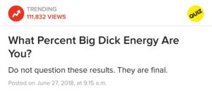 Big Dick, Energy, and Tumblr: TRENDING  111,832 VIEWS  What Percent Big Dick Energy Are  You?  Do not question these results. They are final.  Posted on June 27, 2018, at 9:15 a.m. imsobadatnicknames:  willcraftapple11:  cup-a-fear: bisexualcevans:  trying-to-be-sweet:   bisexualcevans: I hate the timeline we live in  Where's the link OP?   here ya go    50% :/   I have the biggest and lowest BDE of them all bc I took it twice