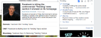 """Trending  Facebook is killing the  Face  Facebois killing the controversial  Trending' news.. - businessinsider.com  Donald Trump  Trump Breaks Protocol With Jobs Report  Tweet Before Data ls...-nytimes.com  Visa Inc.  Payment chaos as Visa crashes across  Britain stopping. - dailymail.co.uk  See More  controversial """"Trending news  section it showed on its homepage  BUSINESS INSIDER 4 hours ago  Facebook announced on Friday that it planned to remove  Trending, a module on the right-hand side of Facebook's  desktop site that showed news stories that people were  discussing and sharing  Gizmodo: Facebook Kills Trending Topics  CNET: Facebook is shutting down its Trending Topics section  Bloomberg: Facebook Says It's Removing Trending' Feature  Sponsored  Create Ad  SKIP Ironic"""