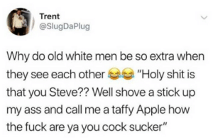 "Apple, Ass, and Shit: Trent  @SlugDaPlug  Why do old white men be so extra when  they see each other  ""Holy shit is  that you Steve?? Well shove a stick up  my ass and call me a taffy Apple how  the fuck are ya you cock sucker"""