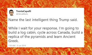Memes, Rude, and Canada: TrentaCapelli  @OkCallMeAL  me the last intelligent thing Trump said.  While I wait for your response, I'm going to  build a log cabin, cycle across Canada, build a  replica of the pyramids and learn Ancient  Greek.  7:30 AM -9 Jun 2019 Tell them you found it at Rude and Rotten Republicans