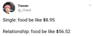 Be Like, Dank, and Food: Trevon  _iTrevii  Single: food be like $8.95  Relationship: food be like $56.52 Nothing but the truth! by BasX MORE MEMES