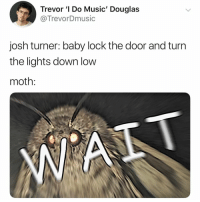 its 2018 and moths are making a comeback i guess pt. 4: Trevor ' Do Music' Douglas  @TrevorDmusic  josh turner: baby lock the door and turn  the lights down low  moth: its 2018 and moths are making a comeback i guess pt. 4