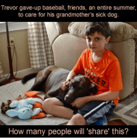 <3 <3 <3 Learn More About This Amazing Young Man ↙  doggiediscussions.com/health/boy-cares-for-grandmas-dog: Trevor gave-up baseball, friends, an entire summer,  to care for his grandmother's sick dog  How many people will 'share' this? <3 <3 <3 Learn More About This Amazing Young Man ↙  doggiediscussions.com/health/boy-cares-for-grandmas-dog