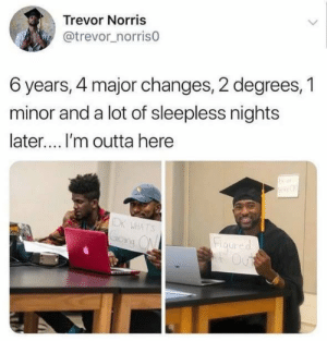 Never give up.: Trevor Norris  @trevor_norris0  6 years, 4 major changes, 2 degrees, 1  minor and a lot of sleepless nights  later.... I'm outta here  IDK WHATS  Grong ON  Figured  Out Never give up.