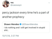 Shit, Time, and Percy Jackson: TRI  @casswayn  percy jackson every time he's a part of  another prophecy  Shawn Mendes @ShawnMendes  I do nothing and i still get involved in stupid  shit.  10/11/18, 3:37 PM