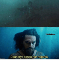 Memes, 🤖, and Her: TrialByMeme  Daenerys sends her regards AquaDrogo should of made an appearance😂 jasonmomoa justiceleague