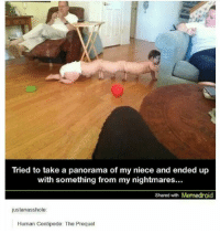 human centipede: Tried to take a panorama of my niece and ended up  with something from my nightmares...  Shared with Memedroid  justanasshole:  Human Centipede: The Prequel