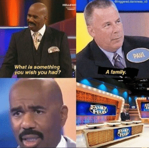 meirl by Alarid FOLLOW HERE 4 MORE MEMES.: @triggered.dankness v3  HELLEVA  SHERES P  TONDGT  PAUL  What is something  you wish you had?  A family  FAMILY  FEUD  FAVILY  FELD meirl by Alarid FOLLOW HERE 4 MORE MEMES.