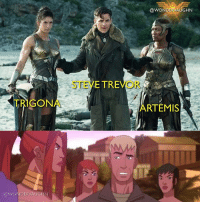 "Memes, Watch Out, and Watch: TRIGON  @WONDER VAUGHN  E TRE  STE  @WONDER GHN  RTEMIS WATCH OUT STEVE! * Top: stevetrevor ( chrispine) captured by the Amazons Trigona (@harijamespt) and Artemis (@realannwolfe) * Bottom: Steve Trevor (@natefillion) being a smart mouth with Artemis (@rosariodawson) giving him the ""watch your mouth"" look! *** mywonderwoman girlpower women femaleempowerment MulherMaravilha MujerMaravilla galgadot unitetheleague princessdiana dianaprince amazons amazonwarrior manofsteel thedarkknight artemis rosariodawson annwolfe @gal_gadot"