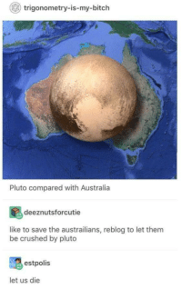 Bitch, Australia, and Pluto: trigonometry-is-my-bitch  Pluto compared with Australia  deeznutsforcutie  like to save the austrailians, reblog to let them  be crushed by pluto  estpolis  let us die please, let die.